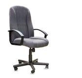 Sedia dell'ufficio dal panno grigio isolato sopra bianco Immagine Stock Libera da Diritti