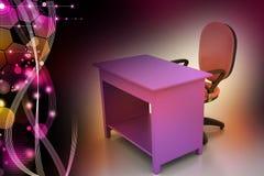 Sedia dell'ufficio e tavola del computer Fotografie Stock