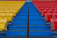 Sedia dello stadio rossa e gialla Fotografia Stock Libera da Diritti