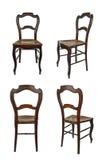 Sedia di legno antica - quattro viste Fotografie Stock Libere da Diritti