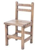 Sedia di legno fatta a mano d'annata su fondo bianco Fotografia Stock Libera da Diritti