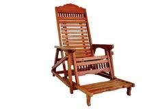 Sedia di legno marrone d'oscillazione isolata Fotografia Stock
