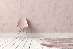 Sedia di plastica moderna con tappeto Fotografie Stock