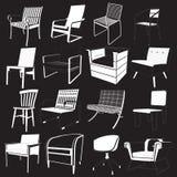 Sedia disegnata a mano dell'insieme Fotografia Stock