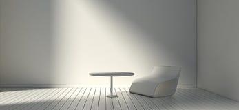 Sedia e parete moderne bianche in salone semplice 3d o interno dell'illustrazione illustrazione vettoriale