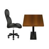 Sedia nera e posto di lavoro di legno dello scrittorio Illustrazione di vettore illustrazione di stock