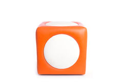 Sedia quadrata arancio delle feci isolata su bianco Fotografia Stock Libera da Diritti
