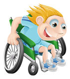 Sedia a rotelle che corre l'uomo del fumetto Immagini Stock Libere da Diritti