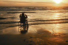 Sedia a rotelle della donna Fotografia Stock Libera da Diritti