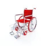 Sedia a rotelle rossa Immagine Stock