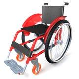 Sedia a rotelle rossa su fondo bianco Fotografia Stock Libera da Diritti