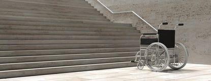 Sedia a rotelle vuota davanti alle scale concrete illustrazione 3D illustrazione di stock