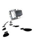 Sedia a rotelle vuota ed orme su fondo bianco illustra 3D Immagini Stock