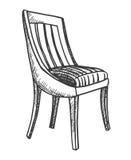 Sedia Schizzo isolato su fondo bianco Illustrazione di vettore Fotografie Stock Libere da Diritti