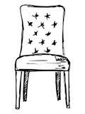 Sedia Schizzo isolato su fondo bianco Illustrazione di vettore Immagini Stock Libere da Diritti