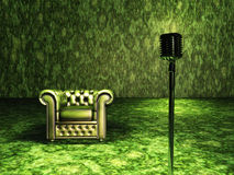 Sedia verde con il microfono Fotografia Stock Libera da Diritti