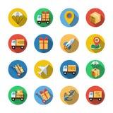 Sedici icone differenti in uno stile piano Immagine Stock