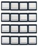 Sedici strutture a clip dello scorrevole Fotografia Stock Libera da Diritti