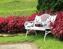 Sedie bianche nel giardino Fotografia Stock Libera da Diritti