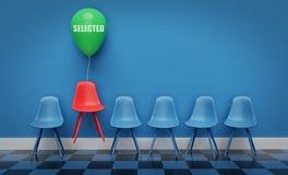 Sedie blu con una sedia rossa di galleggiamento rappresentazione 3d royalty illustrazione gratis
