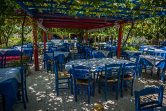 Sedie blu greche fotografia stock
