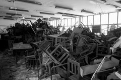 Sedie e tavola nocive Fotografie Stock