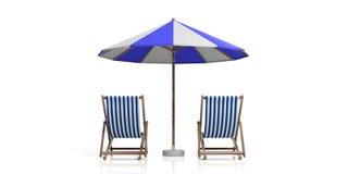 Sedie ed ombrello di spiaggia su fondo bianco illustrazione 3D Fotografia Stock