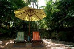 Sedie prendenti il sole di rilassamento in un giardino Fotografie Stock Libere da Diritti
