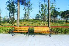 Sedie pubbliche nel giorno di estate del parco Fotografia Stock Libera da Diritti