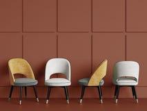 4 sedie sullo spazio rosso della copia del fondo illustrazione di stock