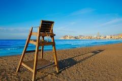 Sedile Alicante del posto di guardia della spiaggia di Benidorm Poniente fotografie stock libere da diritti
