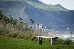 Sedile commemorativo all'allerta scenica della sommità, promontorio di Makorori, vicino alla costa Est di Gisborne, isola del nor Immagini Stock Libere da Diritti
