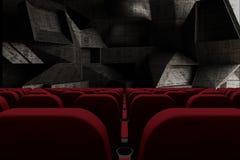 sedili del cinema 3d davanti alla parete curvy delle forme concrete illustrazione di stock