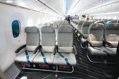 Sedili della classe economica in Boeing 787 Dreamliner a Singapore Airshow 2012 Immagini Stock Libere da Diritti