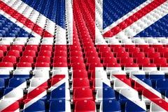 Sedili dello stadio della bandiera del Regno Unito Concetto della concorrenza di sport fotografia stock