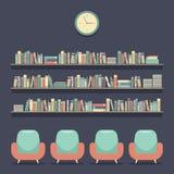 Sedili e scaffali per libri piani della lettura di progettazione illustrazione di stock