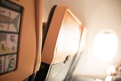 Sedili su un viaggio europeo dell'aereo Fotografia Stock