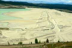 Sediment on the edge of a tailings pond at a copper mine near Ashcroft, British Columbia, Canada