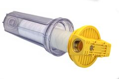 Sediment Water Filter Cartridge In Transparent Plastic Container Royalty Free Stock Photos