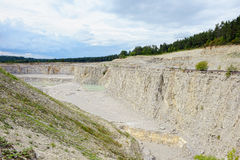 Sedimentary rocks at a limestone quarry Royalty Free Stock Images