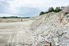 Sedimentary rocks at a limestone quarry Stock Photo