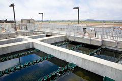 Sedimentation basins for purification of treated wastewater. Water flows over weirs while coagulated particles settle to the bottom Royalty Free Stock Photo