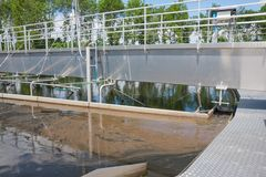 Sedimentation tank in sewage treatment plant Royalty Free Stock Image