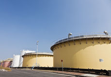 Sedimentation tank in a sewage treatment plant. Against clear blue sky Royalty Free Stock Image