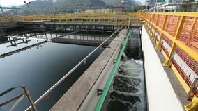 Sedimentation tanks in a sewage treatment plant stock video