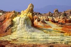 Sedimentos del sulfuro en Dallol Fotos de archivo libres de regalías