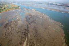 Sedimentos en la presa de Cunovo en el río Danubio Imágenes de archivo libres de regalías