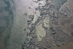 Sediments structure in the Cunovo Dam on the Danube river Stock Photos