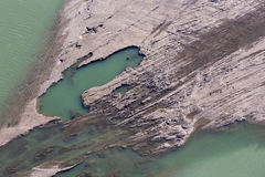 Sediments structure in the Cunovo Dam on the Danube river Royalty Free Stock Photos