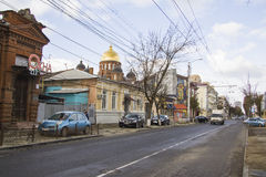Sedina street, new shops and dome of church Stock Photo